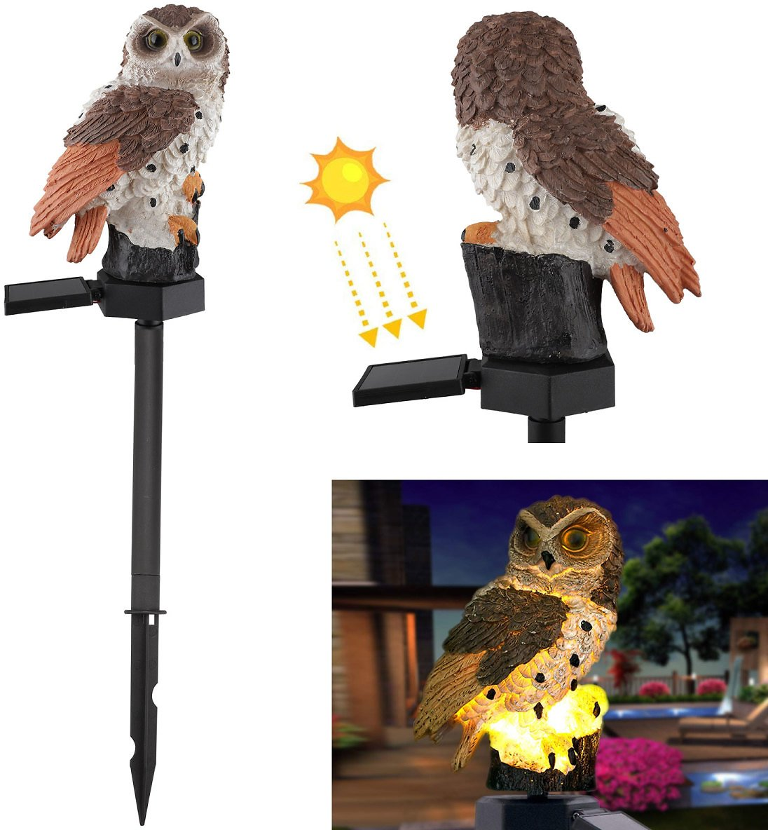 Garden Statue Owl Light - TSV Outdoor Christmas Decorations Resin Statue with Solar LED Lights for Patio Yard Lawn Ornaments, Fall Winter Thanksgiving Decor, 18 X 6Inch, Housewarming Gift