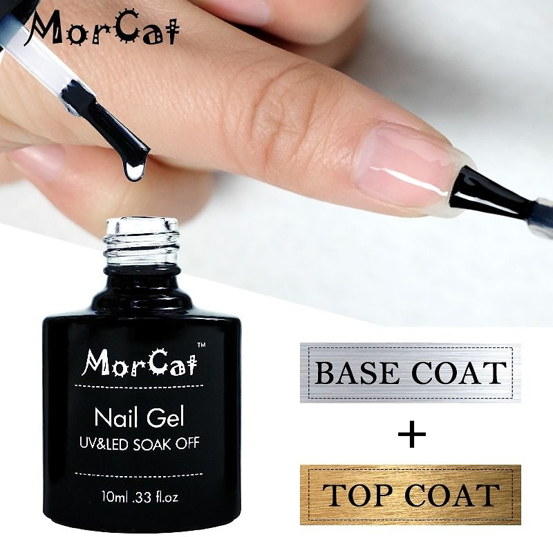 US $2.09 32% OFF|MorCat Top And Base Coat 10ml Gel Nail Polish UV Transparent Nail Gel No Wipe Primer Gel Varnishes Lacquer Nail Art B057|Nail Gel| - AliExpress