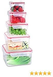 Fresh Friend Food Storage Containers with Lids BPA Free, Plastic Airtight Meal Prep Containers for Lunch, Stackable Kitchen Storage Containers for Food, Set of 5, Square
