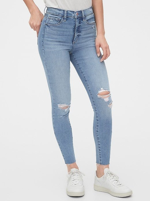 High Rise Destructed Favorite Jeggings with Secret Smoothing Pockets | Gap