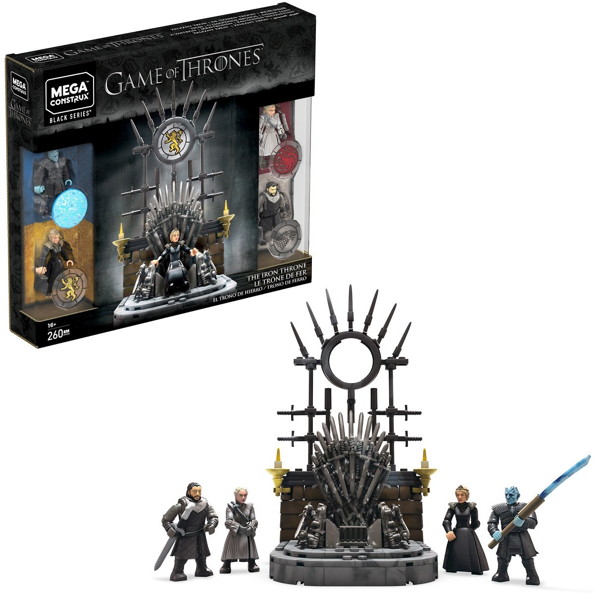 Mega Construx Game of Thrones The Iron Throne Construction Set with Character Figures (260 Pieces)