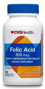 Buy 1, Get 1 Free On CVS Health Folic Acid Tablets 800mcg, 100CT