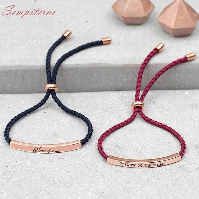 Engrave Letters Bracelet Customized Bracelets Stainless Steel 8 Color Rope Bangles For Godmother Gift Inspirational Jewelry