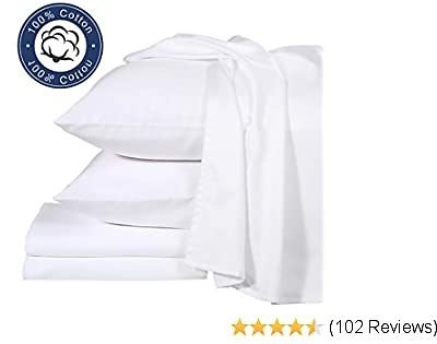 THLAND Luxurious Bed Sheets Set 4-Pcs 400 Thread Count 100% Pure Egyptian Cotton, Single Ply Extra Long Staple Yarns, Luxury Sateen Weave, Fits Up to 15 Inch Deep Pocket (Full, White)