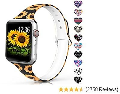 Sunnywoo Sport Band Compatible with Apple Watch 38mm 40mm 42mm 44mm, Narrow Soft Fadeless Floral Silicone Slim Thin Replacement Wristband for IWatch Series 4/3/2/1 Women Men,Sunflower