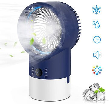 IPRee® 4 in 1 3-Speeds Adjustable Air Conditioner Mist Purifier Humidifier Fan Portable Personal Air Cooler Desk Fan Quiet Circulation with 7 Colors Timing Lights for Outdoor Home OfficeTravel SuppliesfromSports & Outdooron
