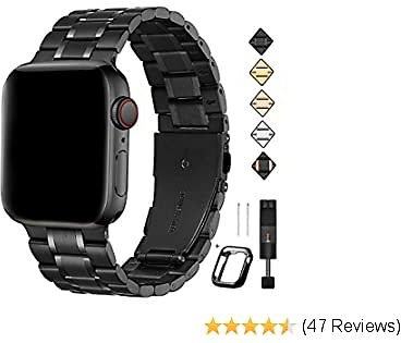 Bestig Compatible for Apple Watch Band 38mm 40mm 42mm 44mm Premium Solid Stainless Steel Metal Replacement Adjustable Sport Wristband Bracelet Strap for IWatch 5/4/3/2/1 (Matt Black/Polished Black)
