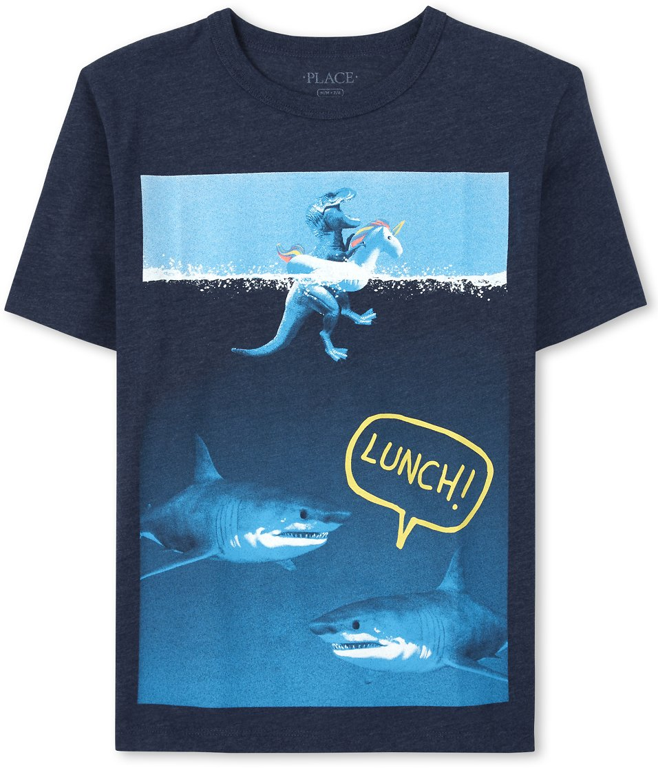 Boys Short Sleeve 'Lunch' Shark And Dino Graphic Tee