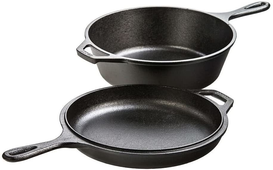 Lodge Pre-Seasoned Cast Iron Combo Cooker, 2-Piece Set, 10.25