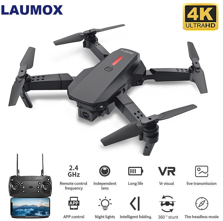 Drone with Wifi FPV 480P 4K HD Dual Camera RC Quadcopter 15 Minutes Flight Time Follow Me Mini Dron