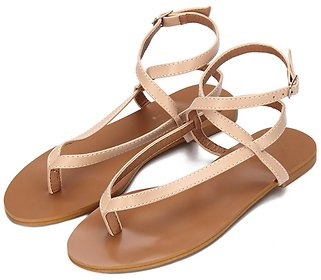 Apricot Leather Look Cross Ankle Strap Toe Post Flat Sandals - US$12.99 -YOINS