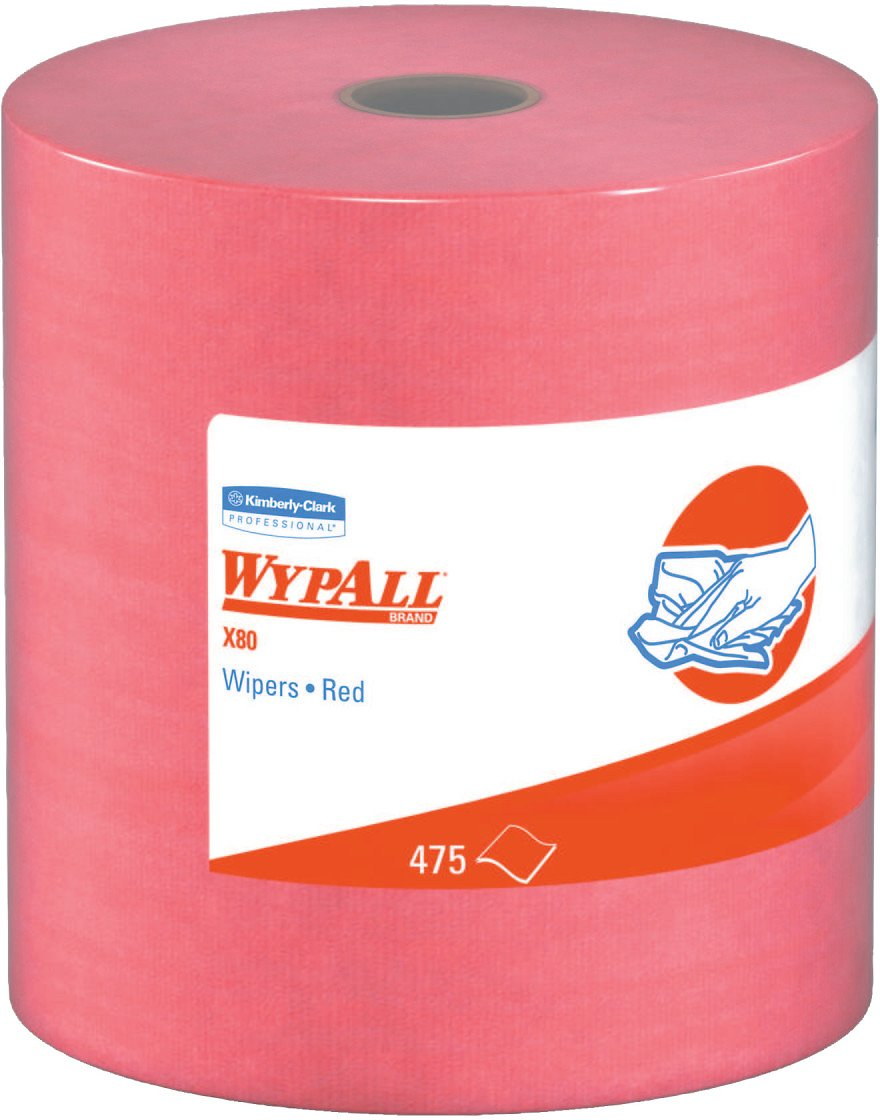 Wypall X80 Reusable Wipes (41055), Extended Use Cloths Jumbo Roll, Red, 475 Sheets Per Roll; 1 Roll Per Case