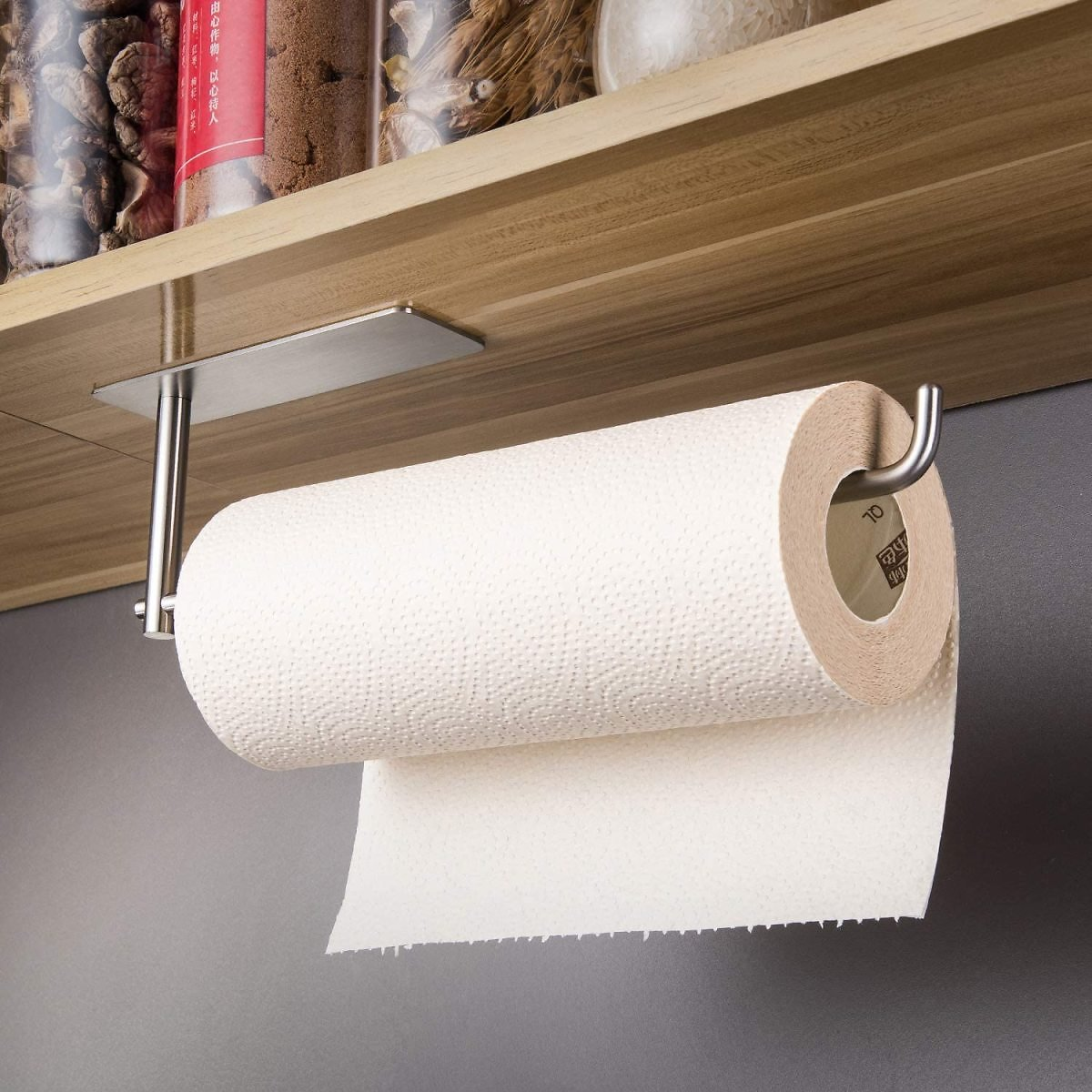 SUNTECH Paper Towel Holder Under Kitchen Cabinet - Self Adhesive Towel Paper Holder Stick On Wall, SUS304 Stainless Steel