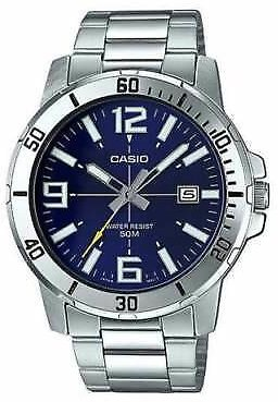 Casio MTP-VD01D-2B Men's Stainless Steel Watch BLUE Date Dial 50M WR NEW MODEL 4549526186653