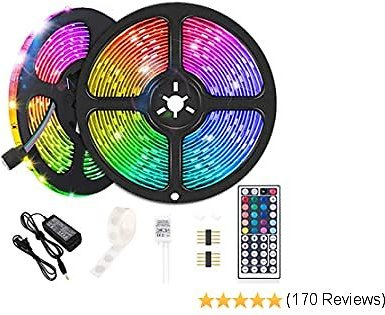 Led Strip Lights, 32.8ft SMD 5050 RGB Flexible Color Changing LEDs Light Strips IP65 Waterproof with 44 Keys IR Remote and 12V Power Supply for Home, Bedroom, Kitchen, DIY Decoration
