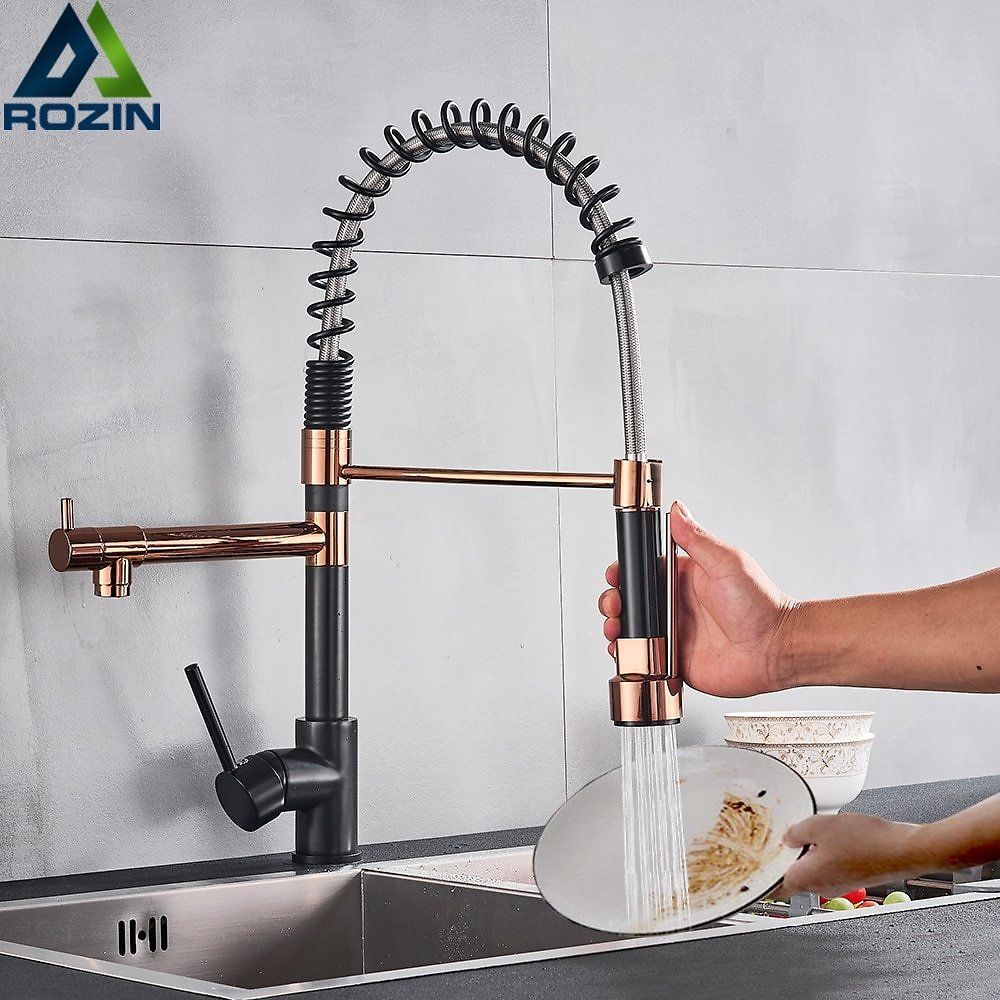 US $39.0 40% OFF|Rozin Black and Rose Golden Spring Pull Down Kitchen Sink Faucet Hot & Cold Water Mixer Crane Tap with Dual Spout Deck Mounted|kitchen Sink Faucet|kitchen Faucet Handletap Tap - AliExpress