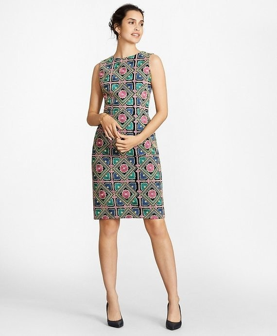 Floral-Embroidered Chiffon Sheath Dress - Brooks Brothers