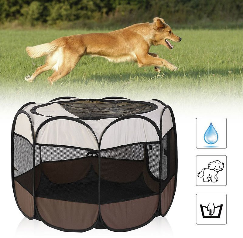 82% OFF Portable Outdoor Kennels Fences Dog Tent Houses For Dogs Foldable Indoor Puppy Cats Pet Cage Octagon Fence