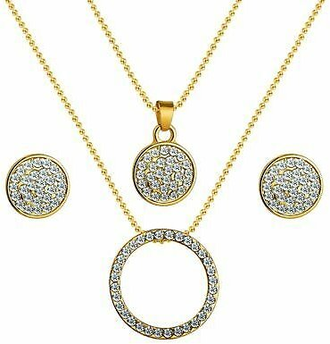 Women Gold Color Austrian Crystal Classic Necklace Earrings Pendant Jewellery