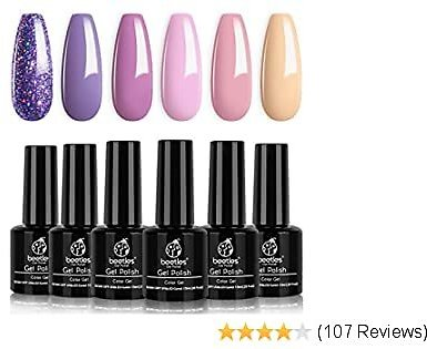 16%OFF Gel Nail Polish Set, Lucky Lavendar Collection Purple Lilac Glitter Nude Art Salon Manicure At Home,