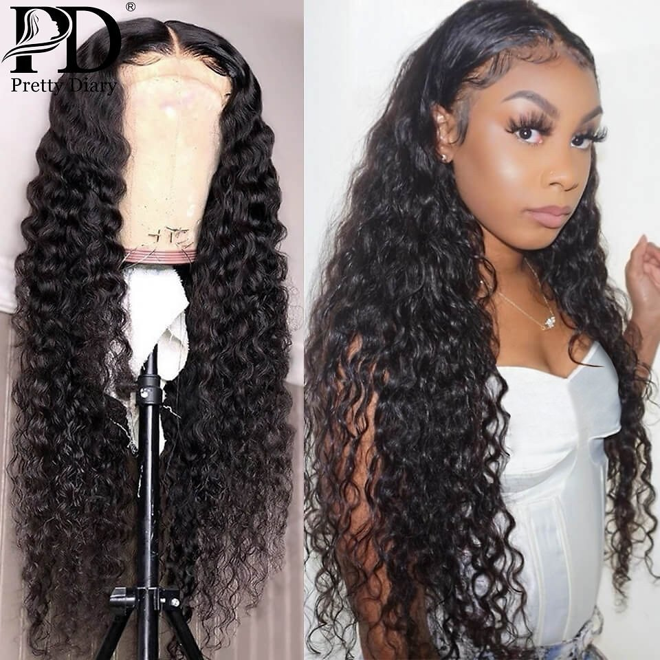 66% OFF|28 30 Inch Ombre Colored 13x4 Curly Lace Front Human Hair Wigs Deep Wave Frontal Wig Pre Plucked For Black Women