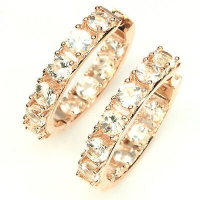 Unheated Round Pink Morganite 4mm Rose Gold Plate 925 Sterling Silver Earrings