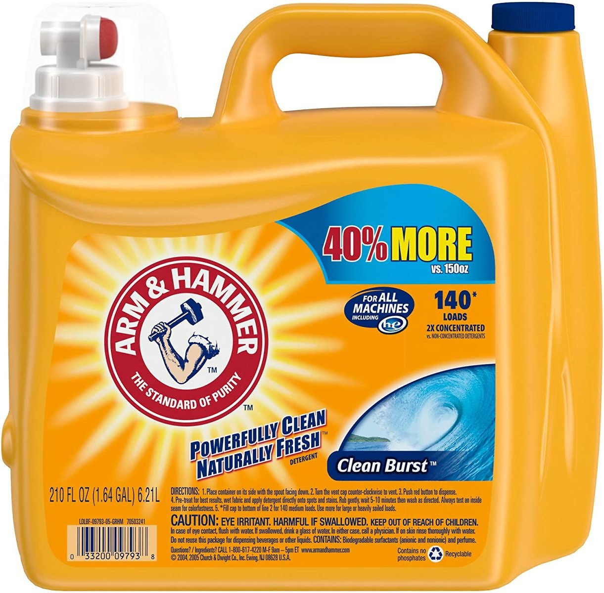 Arm & Hammer Clean Burst Liquid Laundry Detergent (140 Loads)