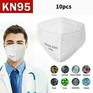 10pcs KN95 Disposable Face Mask Particulate Protective Mouth Cover 5-Layer
