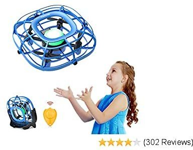 Mini Drone, Levitation UFO Drone, Hand Free Operated Quad Induction for Kids, One Key Take Off Land 2 Speed, RC Mini Handheld USB Fan, Flying Ball Toys for Boys and Girls, Tomzon A15 Blue