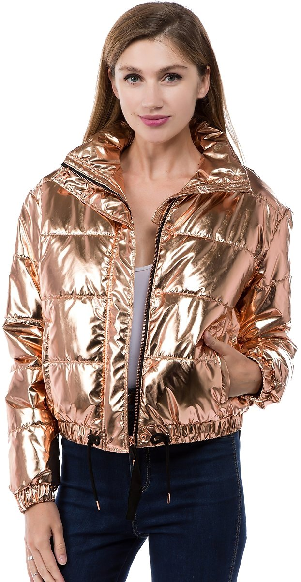 Fashion2love - Women's Juniors Metallic Quilted Poly Filled Winter \ Fall Fashion Jacket Coat