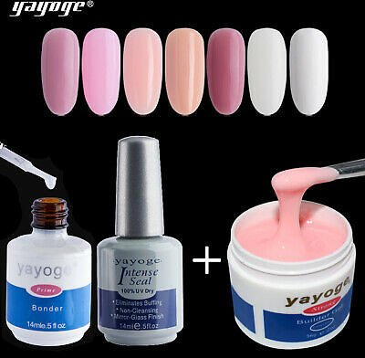 Yayoge 3pcs Strong Builder UV LED Gel Set Primer Base Coat Top Coat UK STOCK