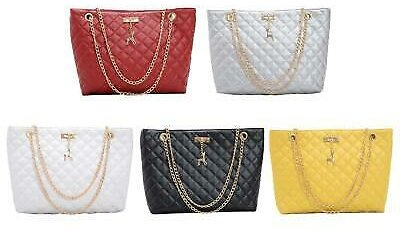 Fashion PU Leather Chain Handbag Women Large Top-Handle Bags Shoulder Totes New