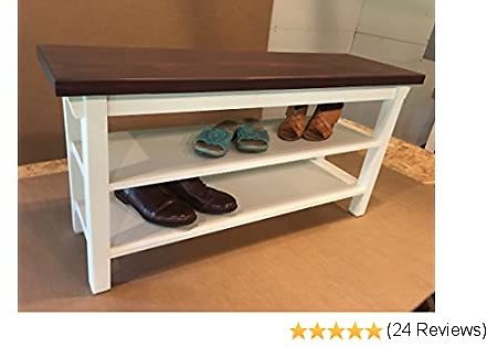 Hallway Mud Room Foyer Bench with Two Shoe Shelves in Your Choice of Color and Size 24 Inches to 46 Inches