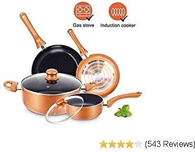 50% OFF 6pcs Cookware Set Pot and Pan Set Non-stick Frying Pans Set Ceramic Coating Soup Pot, Milk Pot, Pan