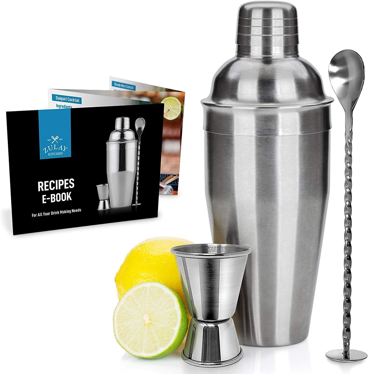 9% OFF   Professional Cocktail Shaker with Accessories - Sleek Martini Shaker with Measuring Jigger & Mixing Spoon