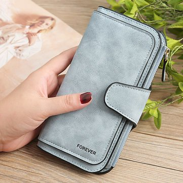 Women Trifold Dull Polish Faux Leather Long Wallet Card Holder PurseWomen's BagsfromLuggage & Bagson Banggood.com
