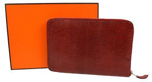 Authentic HERMES Azap GM Zipped Wallet Purse Red Lizard Leather Vintage NR11760i