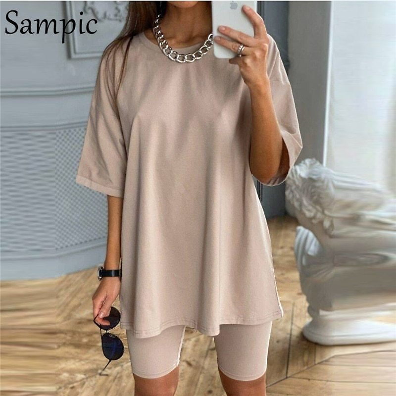 US $14.91 47% OFF|Sampic Fashion White Khaki Sexy Women Summer O Neck Short Sleeve Shirt Tops And Bodycon Shorts Bottom Suit Two Piece Sets Outfit|Women's Sets| - AliExpress