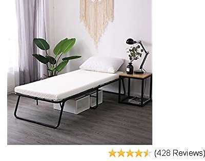 LEISUIT Rollaway Guest Bed Cot Fold Out Bed - Portable Folding Bed Frame with Thick Memory Foam Mattress for Spare Bedroom & Office