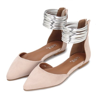 Pink Suede Look Zip Closure Pointed Toe Flat Sandals With Gold Circles - US$13.99 -YOINS