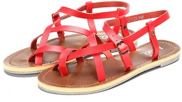 Red Crossing Strap Flat Sandals - US$11.99 -YOINS