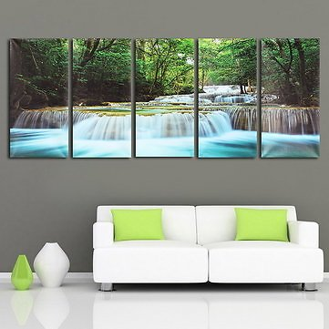 30x60CM 5PCS Canvas Painting Forest Waterfall Wall Art Picture Home DecorHome DecorfromHome and Gardenon Banggood.com