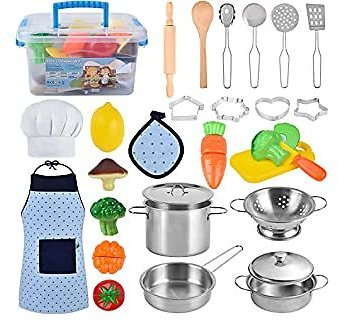 Kitchen Pretend Play Toys, Cooking & Baking Set with Stainless Steel