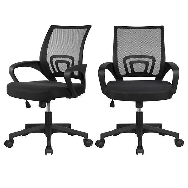 SmileMart 2 X Mesh Office Chair Support Desk Chair with Armrest Black