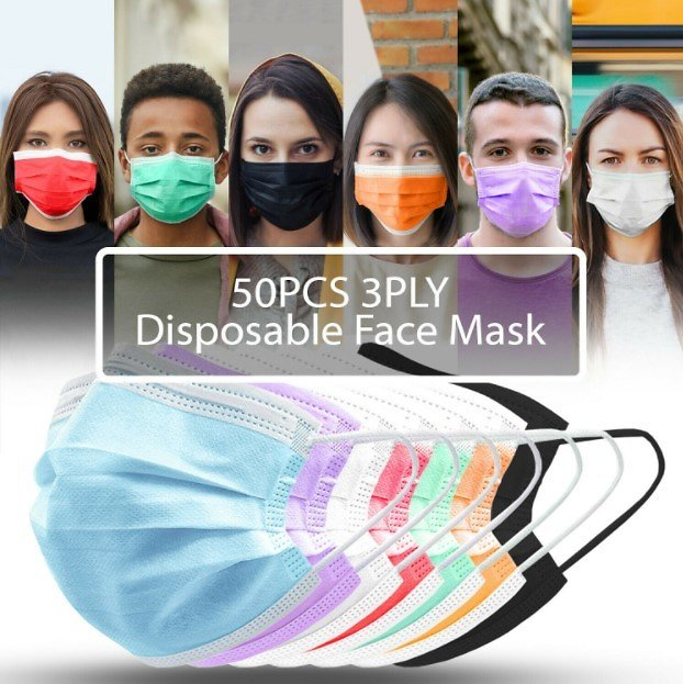 50-Count 3-Ply Disposable Protective Face Masks