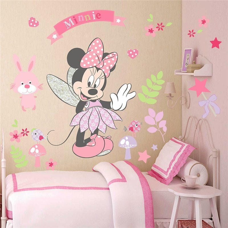 20% OFF Disney Minnie Mouse Wall Stickers For Kids Baby Girls Rooms Nursery Home Decor Vinyl Cartoon Wall Decals