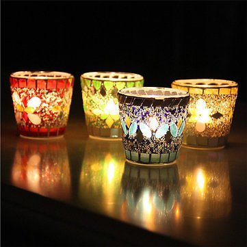 Handicraft Mosaic Glass Beads Sequin Candle Stick Candle Holder Candelabra Home Decor GiftHome DecorfromHome and Gardenon Banggood.com