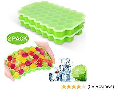 40%OFF Ice Cube Trays with Lids,2-Pack 74 Ice Cubes Food Grade Silica Gel Flexible