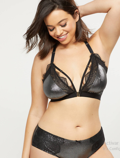 Unlined No-Wire Metallic Bra With Lace | Cacique