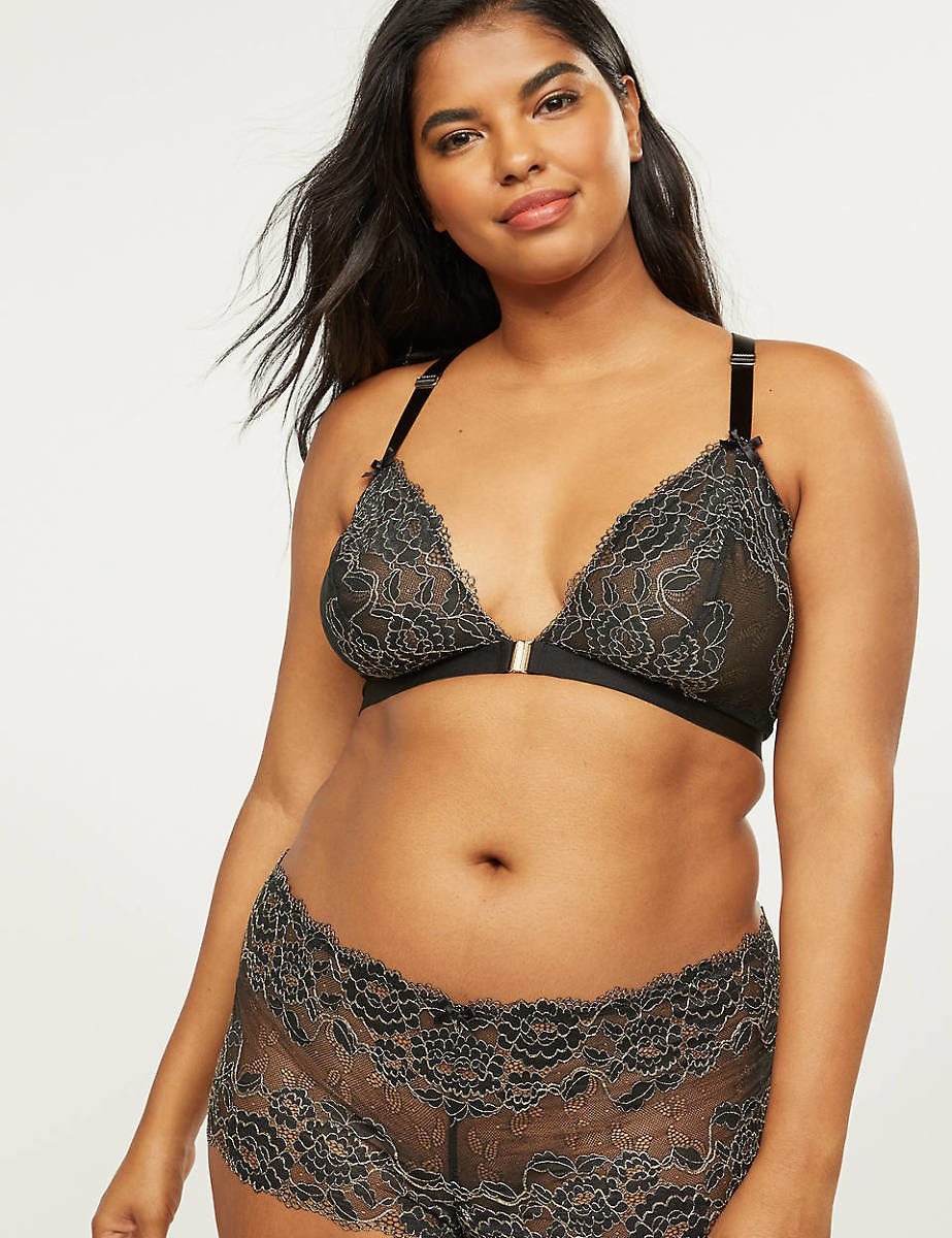 Unlined No-Wire Bra With Metallic Lace